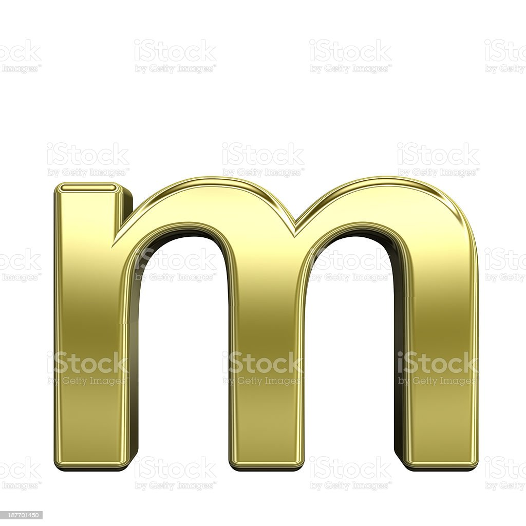 One lower case letter from shiny gold alphabet set stock photo