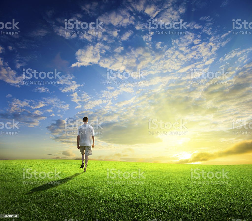 one man and field of spring grass stock photo