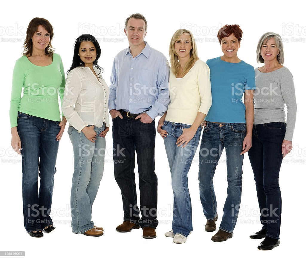 One Man and Five Women royalty-free stock photo