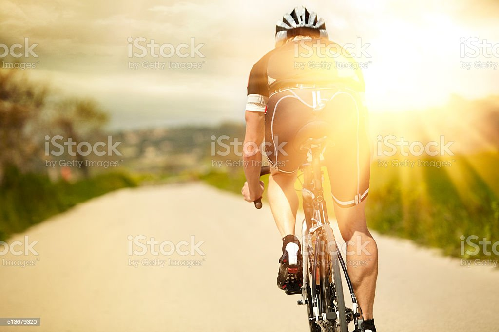 One man and his bicycle stock photo