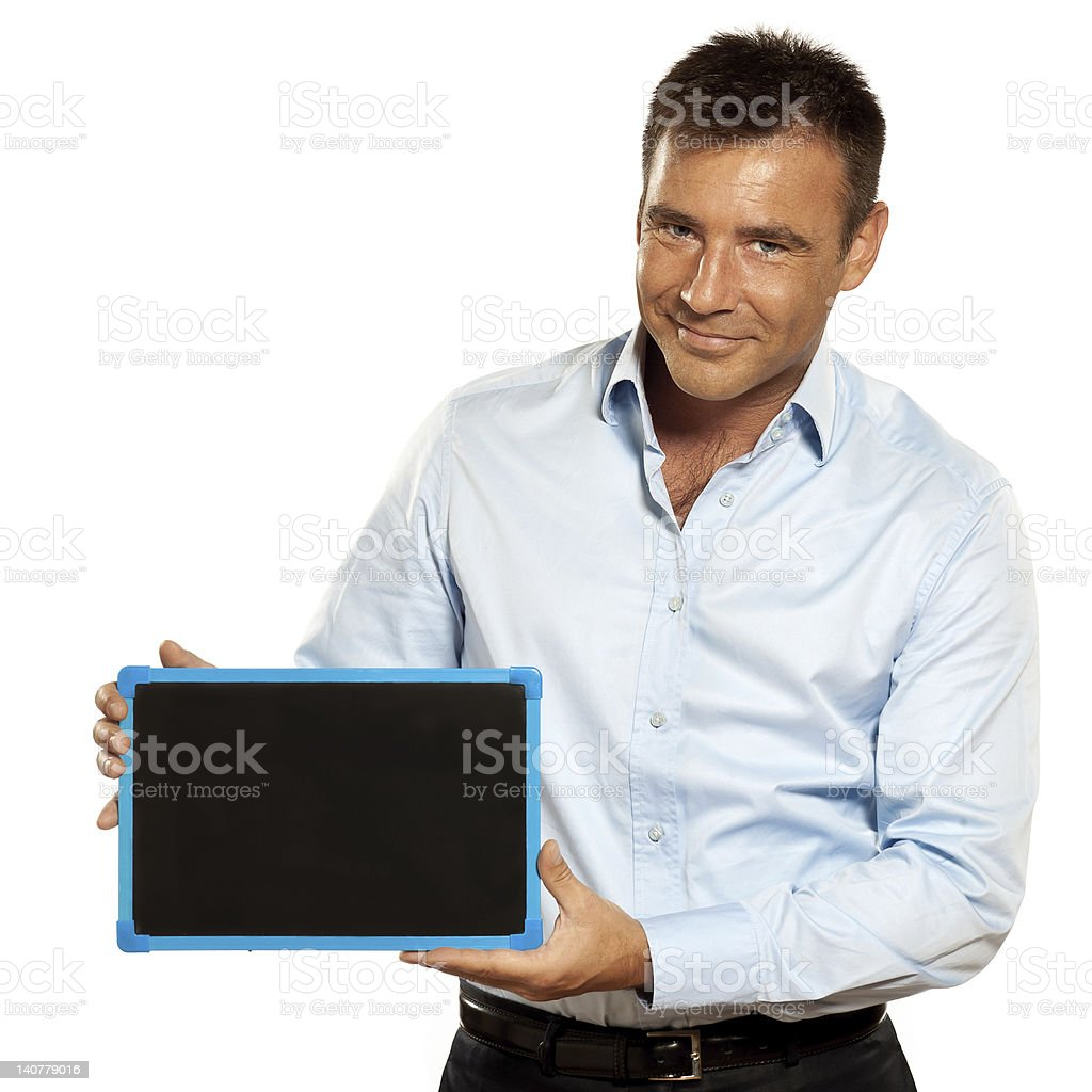 one man holding a blackboard copy space message royalty-free stock photo
