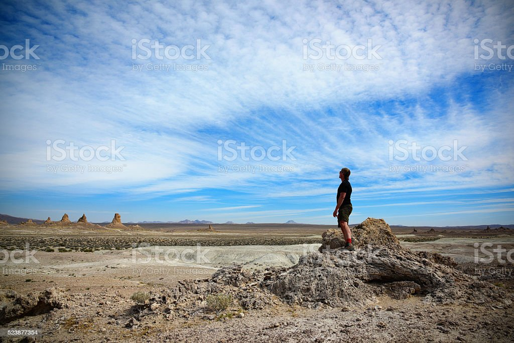 One Man in the Desert Wilderness stock photo