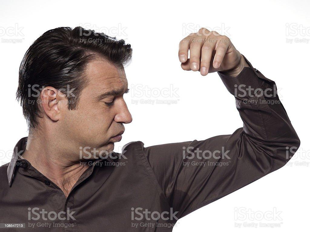 one Man Portrait sweat perspiring stock photo
