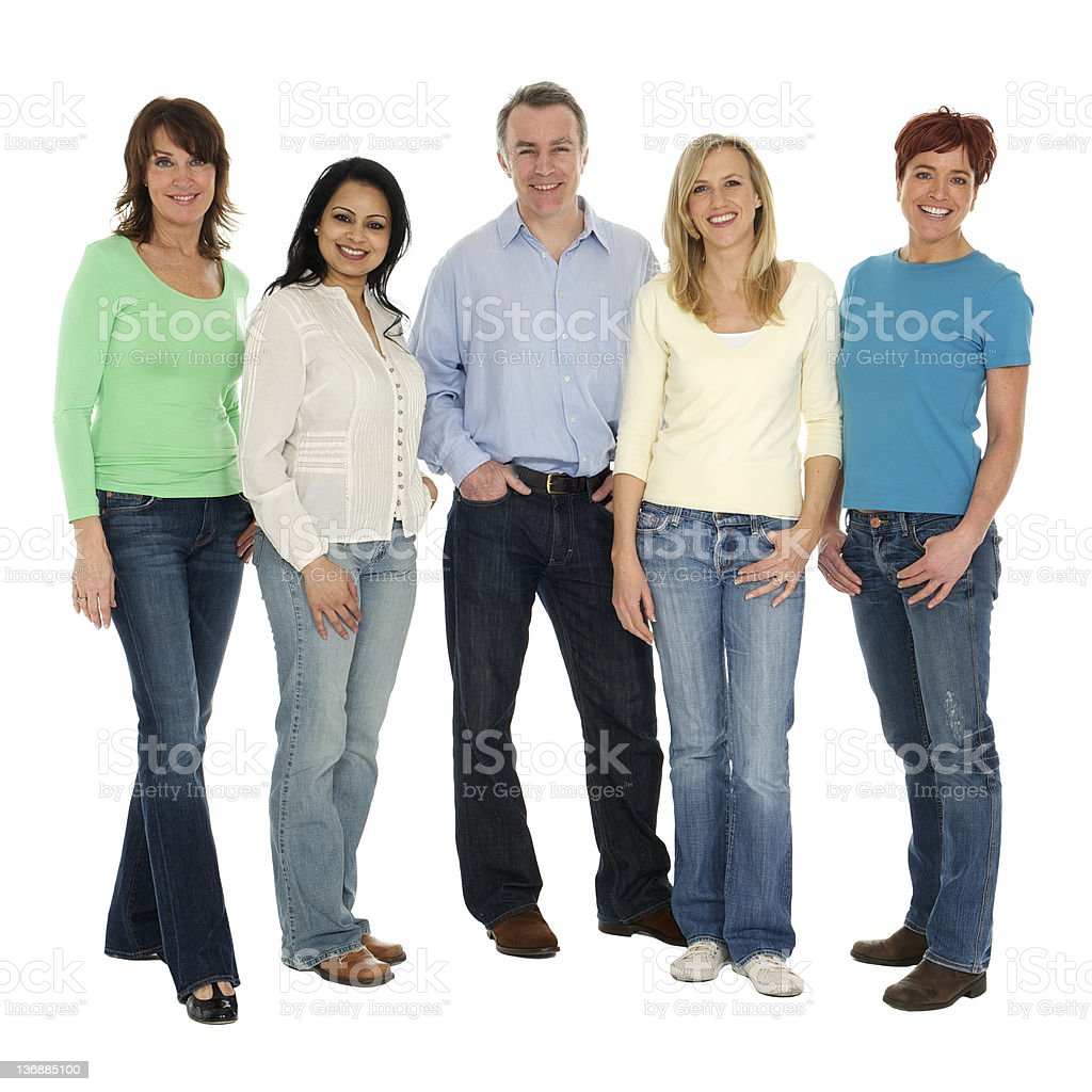 One man with a group of women royalty-free stock photo