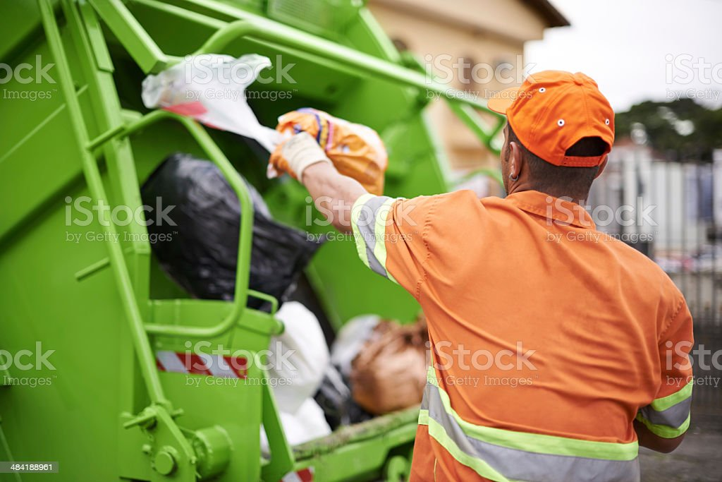 One man's trash... stock photo