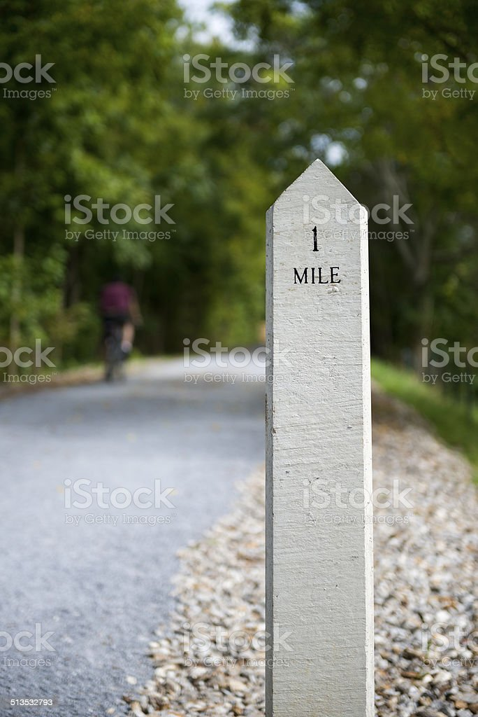 One Mile marker in Johnson City, Tennessee stock photo