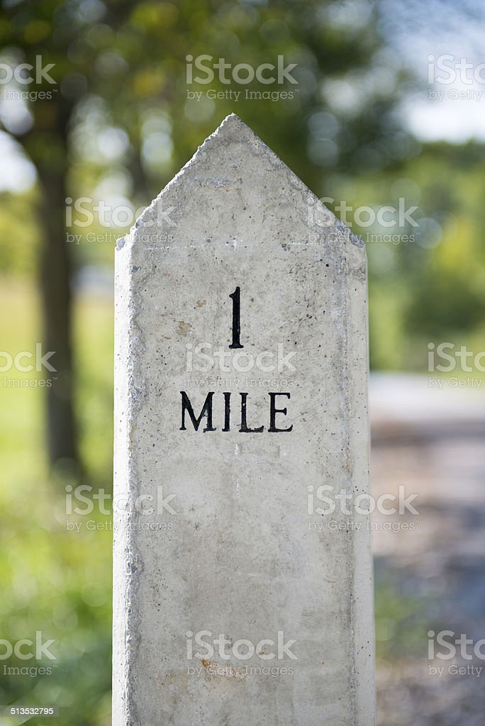 One Mile marker stock photo