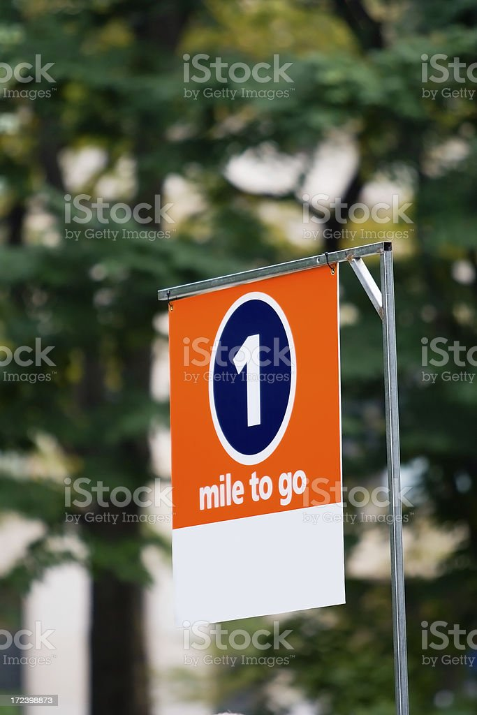 One Mile to Go stock photo