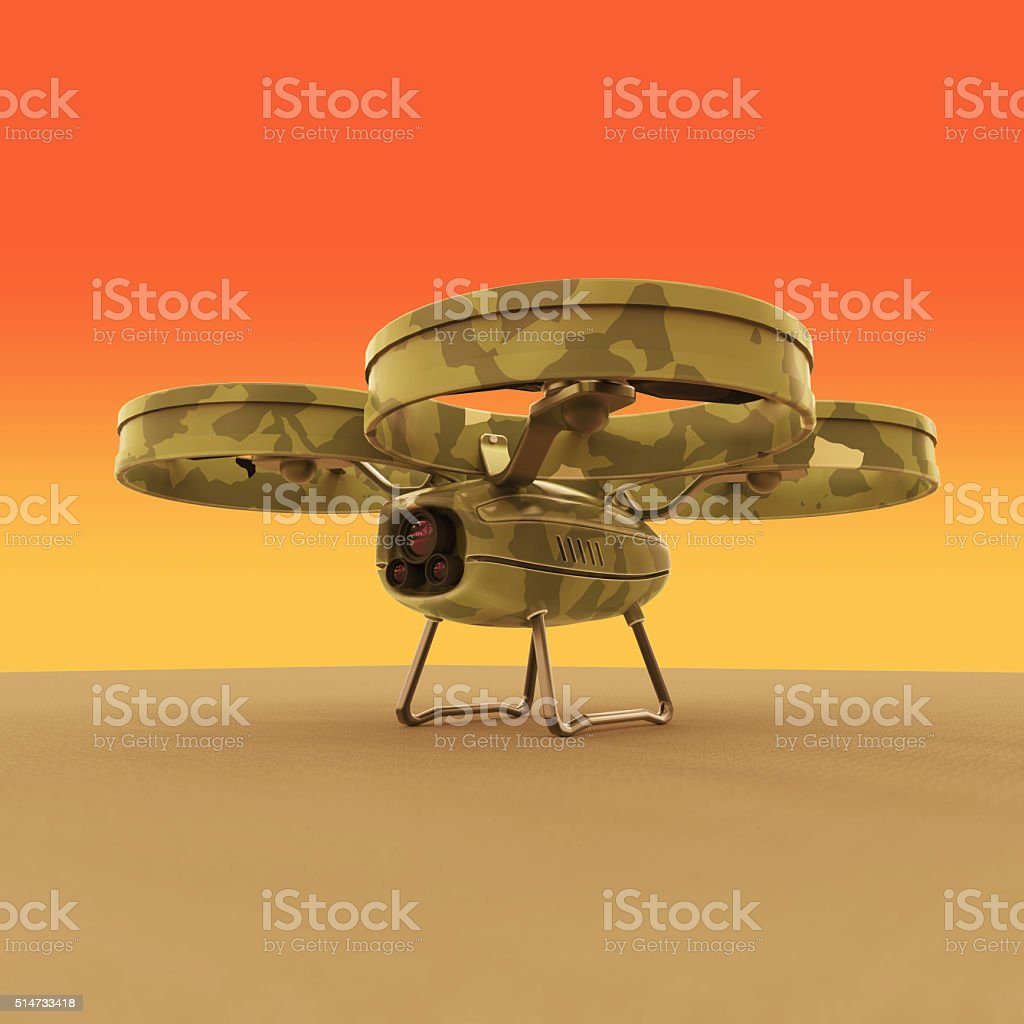 one military quadrocopter drone with  camera, camouflage paint isolated render stock photo