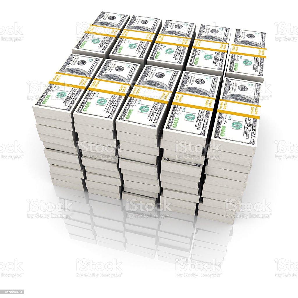 One million dollars on a white background  stock photo