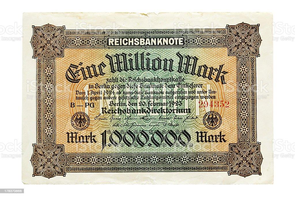 One Million Mark 1923 stock photo