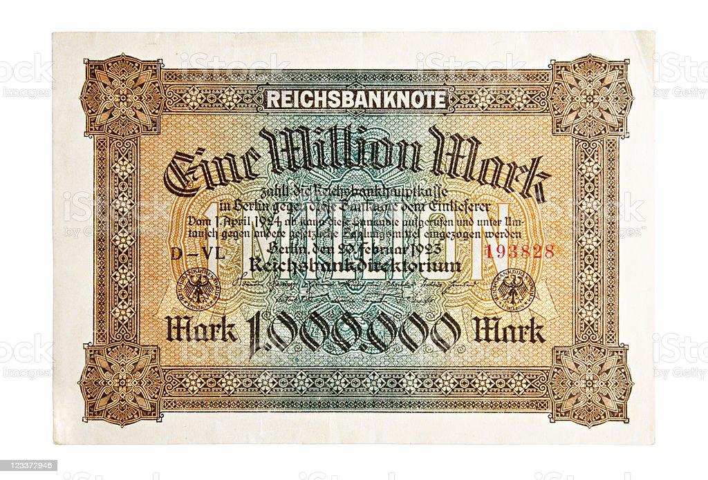 One Million Mark Bank Note stock photo