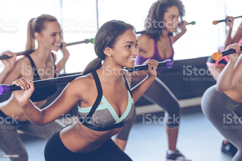 One more squat. stock photo