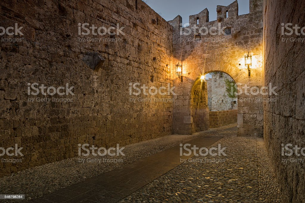 One of Gates Entering to Medieval Town of Rhodes, Greece stock photo