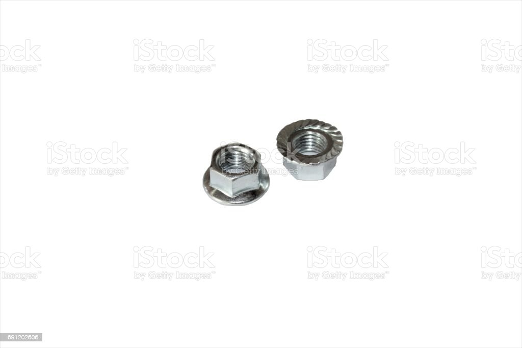 One of metal screw and nuts isolated on white background stock photo