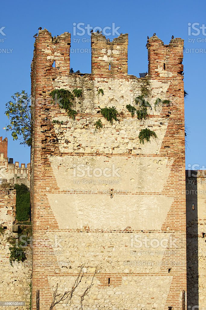 One of Soave Castle tower, Verona (Italy) royalty-free stock photo