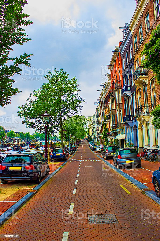 One of street in Amsterdam, Netherlands in summertime stock photo