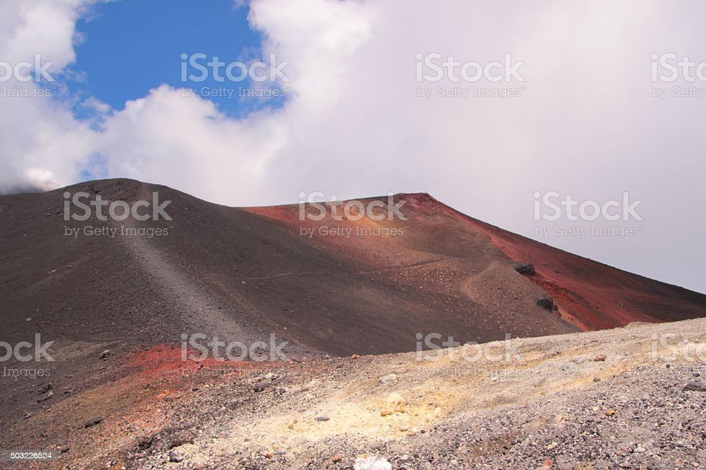 One of the craters of Etna volcano in Italy stock photo