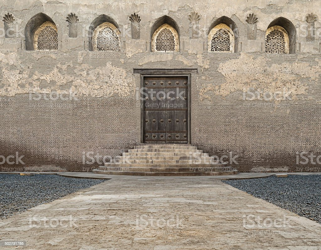 One of the doors of Ibn Tulun Mosque stock photo