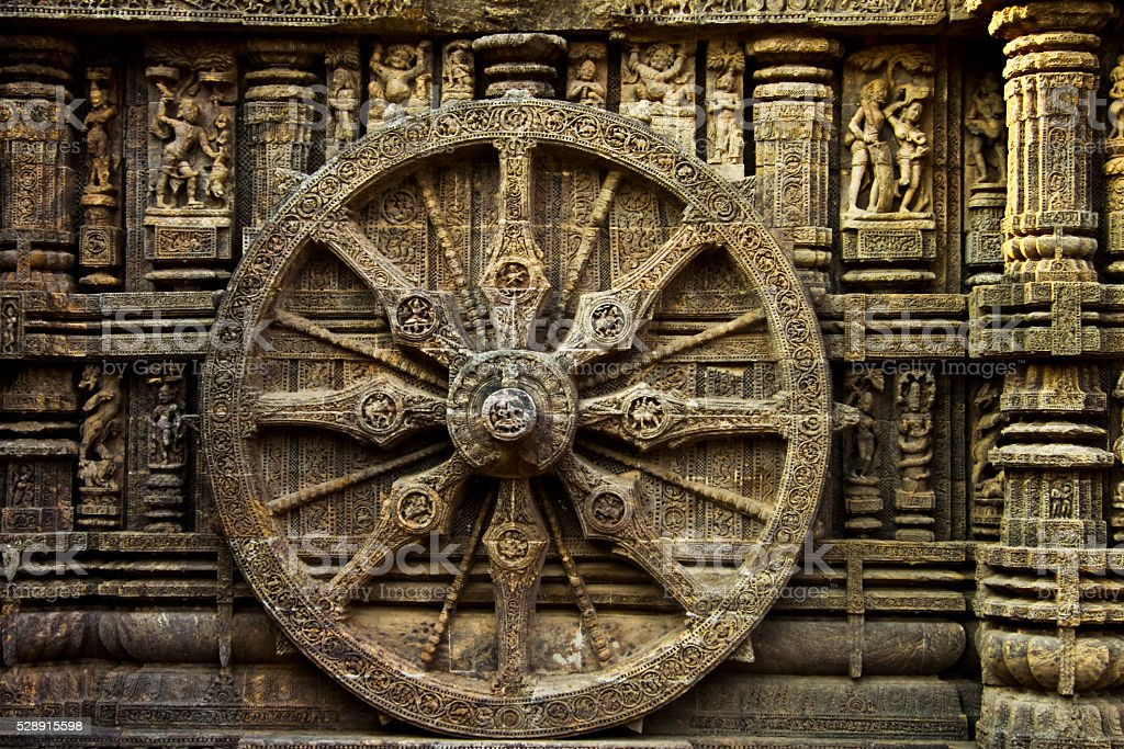 One of the giant wheel of Konark Sun Temple stock photo