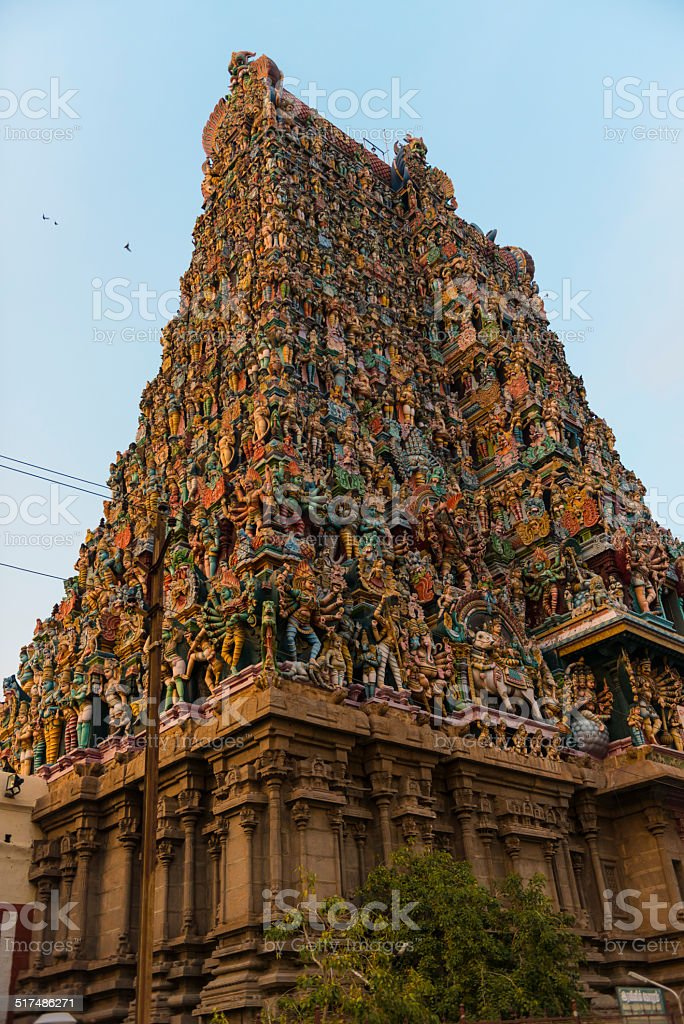 One of the Meenakshi Temple towers in Madurai, India. stock photo