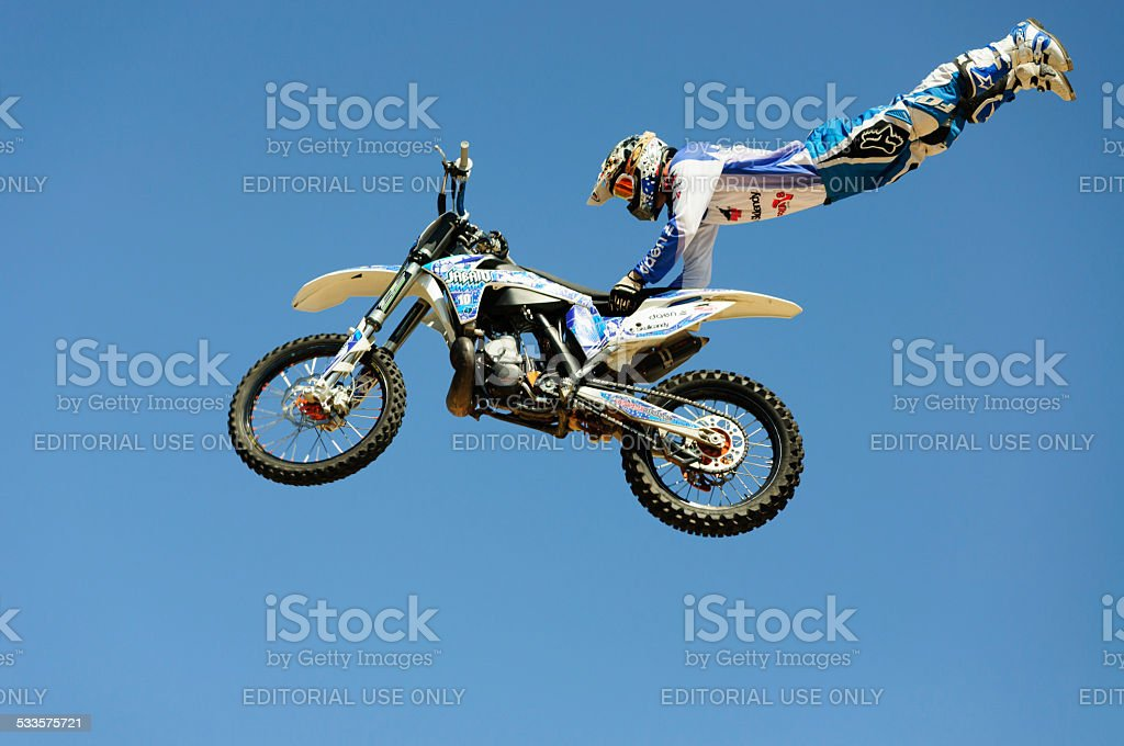 One of the participants in Motorcross freestyle comptetition. stock photo