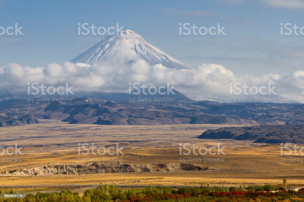 One of the peaks of the Mount Ararat known as Little Mount Ararat in Turkey. stock photo
