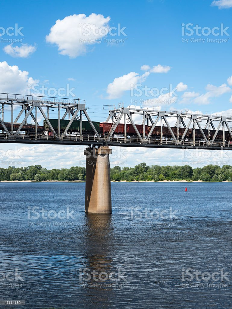 One of the piers supporting the railroad bridge stock photo