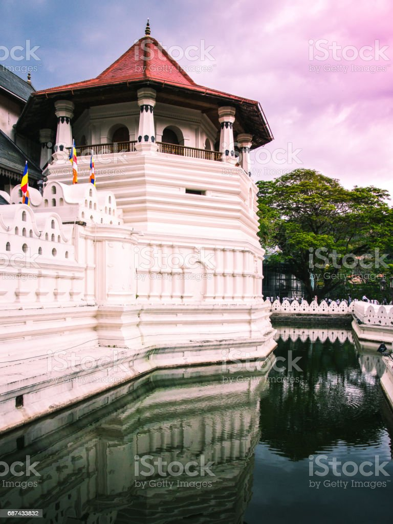 One of the towers at the famous Temple of the Sacred Tooth Relic. Kandy, Sri Lanka. stock photo
