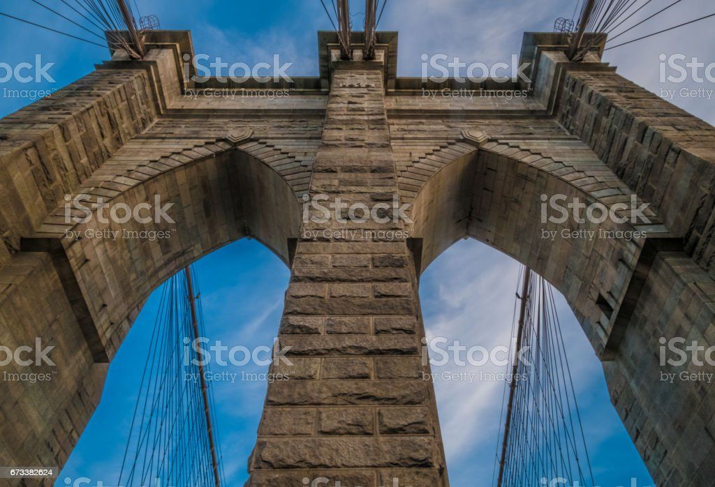 One of the towers of Brooklyn Bridge, NYC stock photo