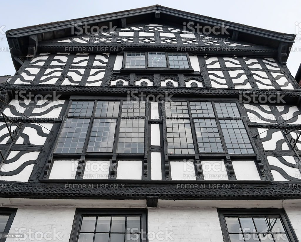 One of the tudor style buildings in the city of chester uk. stock photo