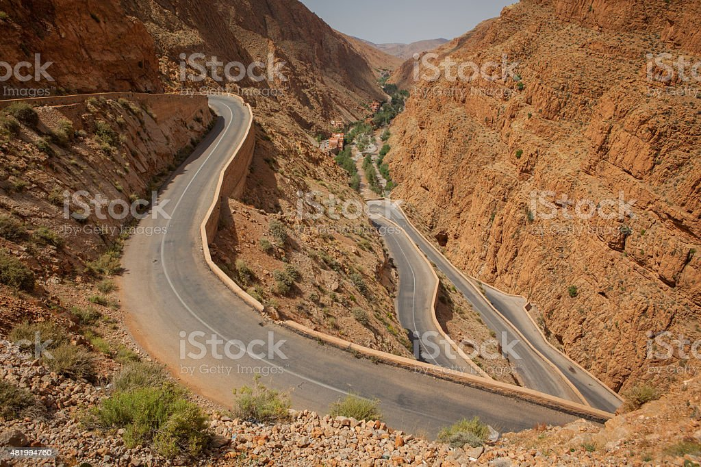 One of the world's crookedest roads in the Dades Valley stock photo