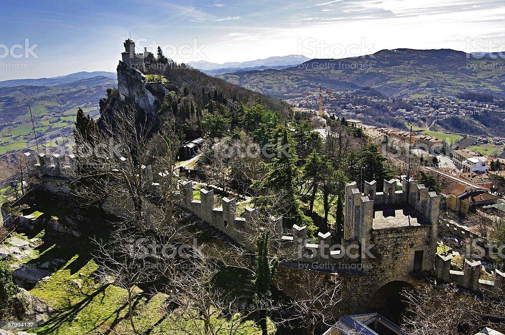 One of  three towers. The Republic San Marino stock photo