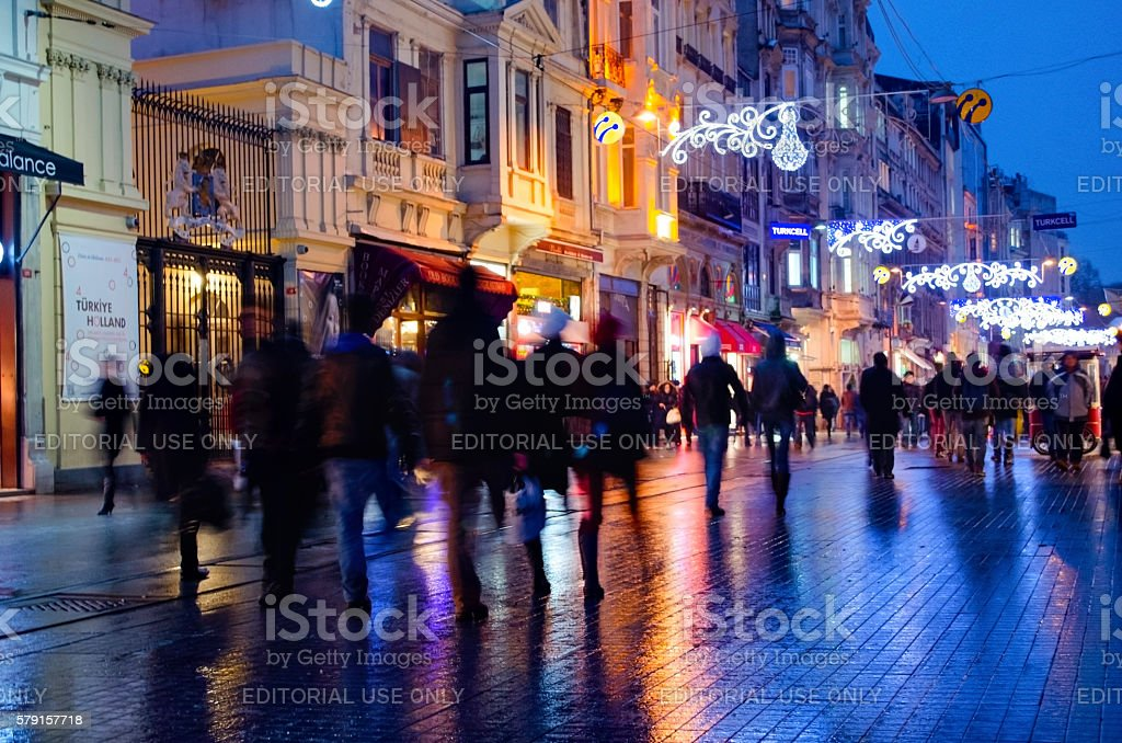 One of Turkey's most famous street Istiklal Street, Fuzzy View stock photo