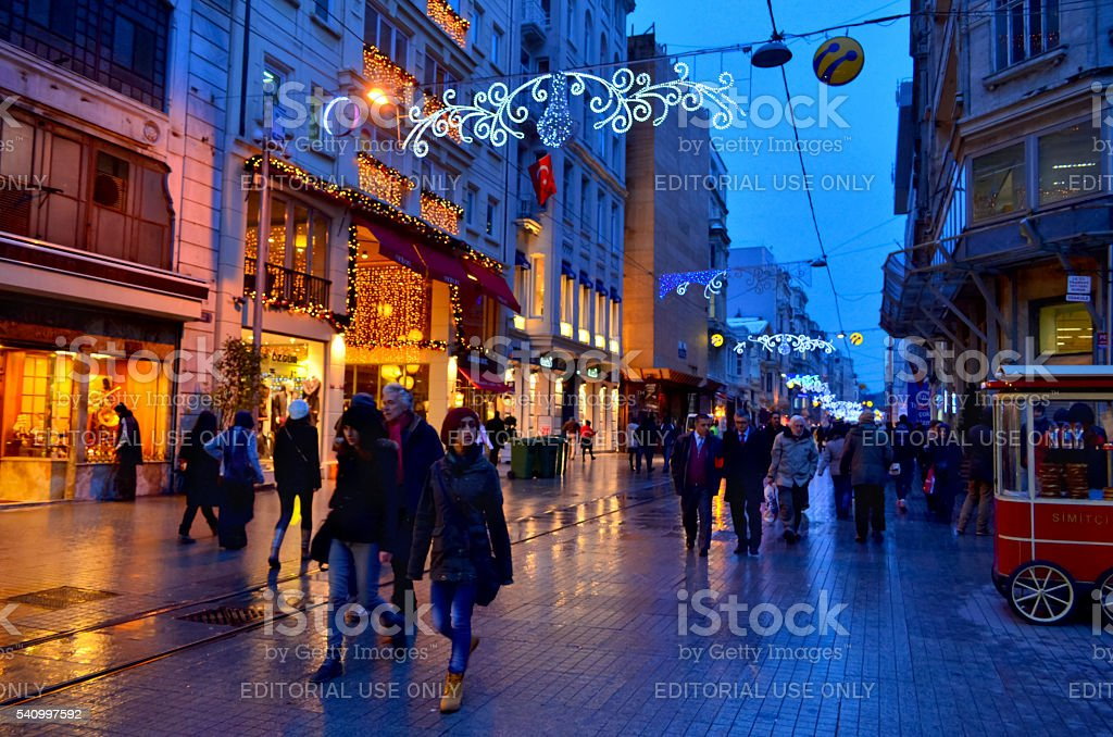 One of Turkey's most famous street Istiklal Street stock photo