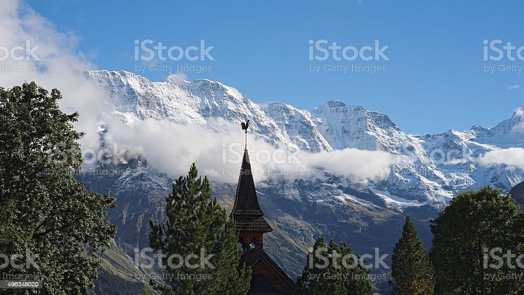 One of two churches in Murren (Berner Oberland, Switzerland) stock photo