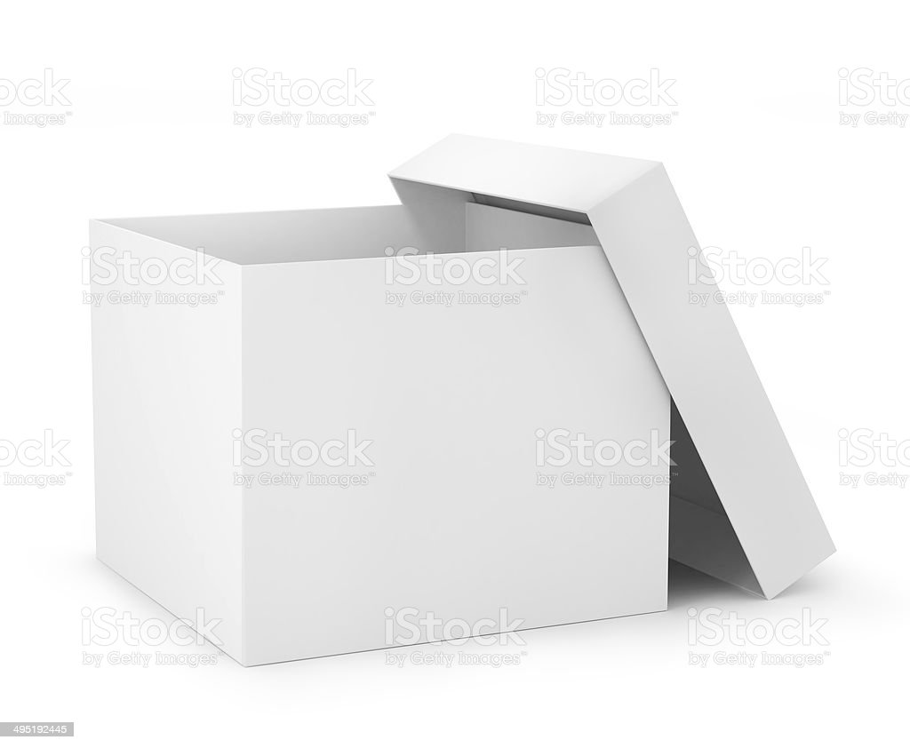 one open carton box in white color (3d render) stock photo