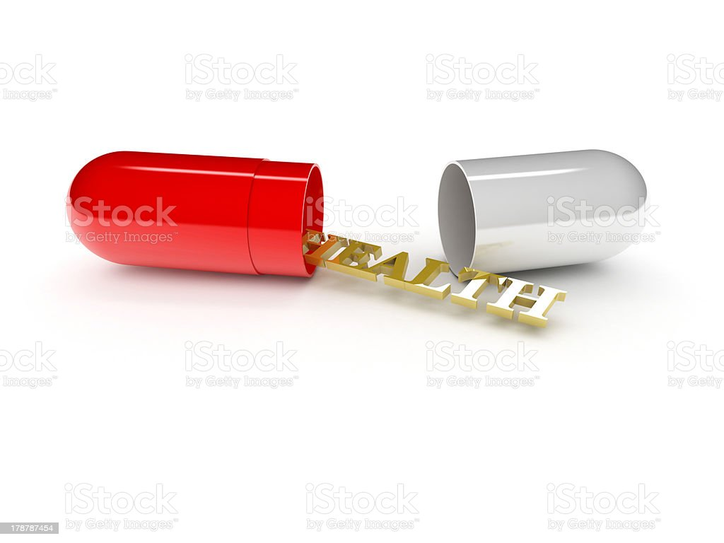 one open pill with the word: health (3d render) royalty-free stock photo
