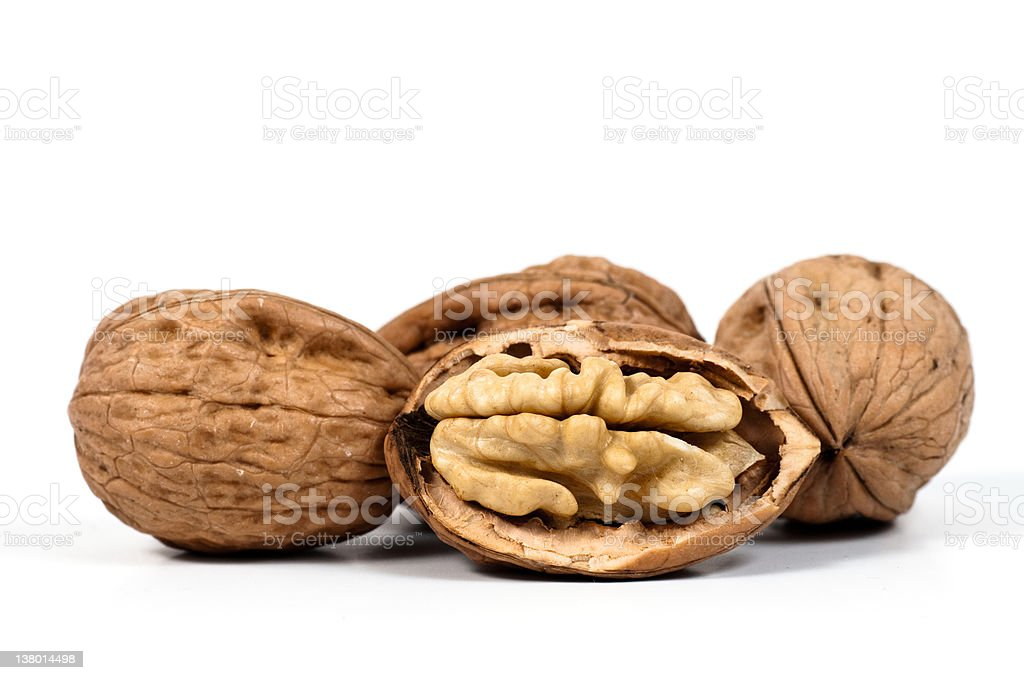 one open walnut and three closed nuts royalty-free stock photo