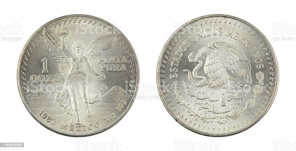 One Ounce Mexican Silver Coin stock photo