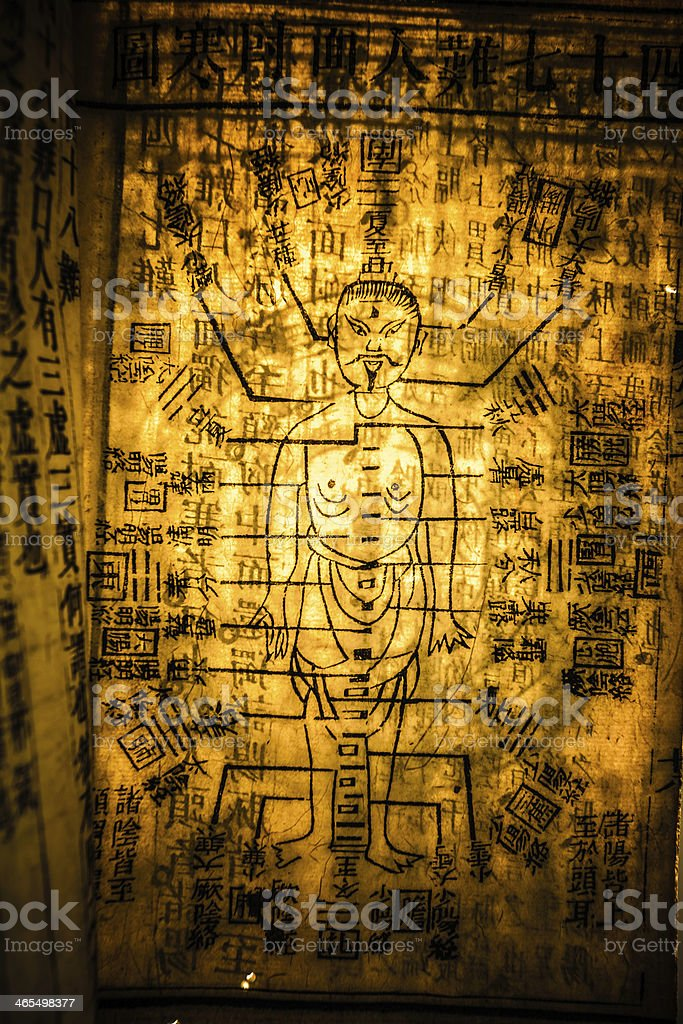 One page of Chinese traditional medicine ancient book stock photo