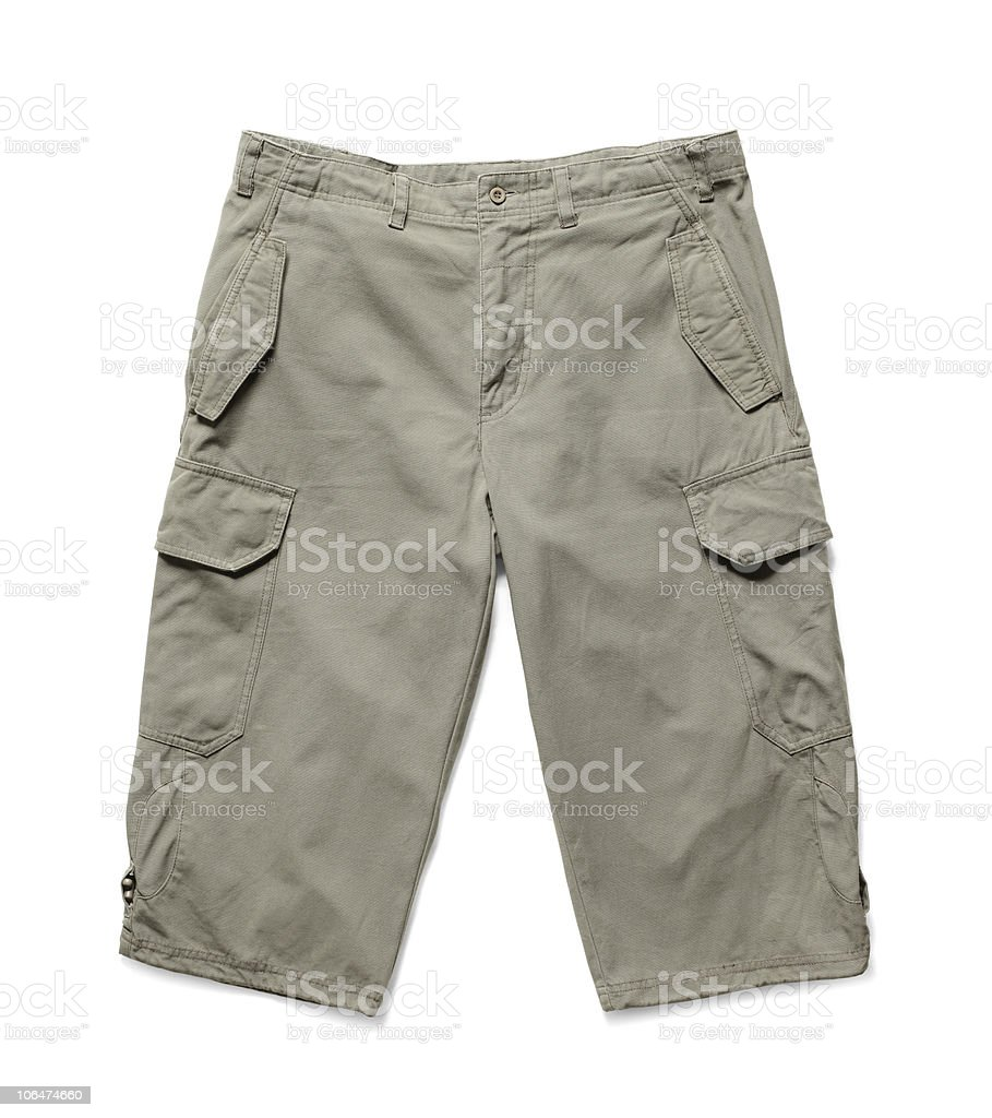 One pair of men's cargo shorts on a white background stock photo