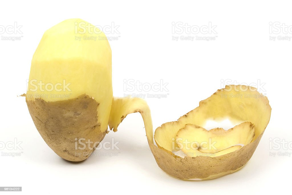 One peeled potato stock photo