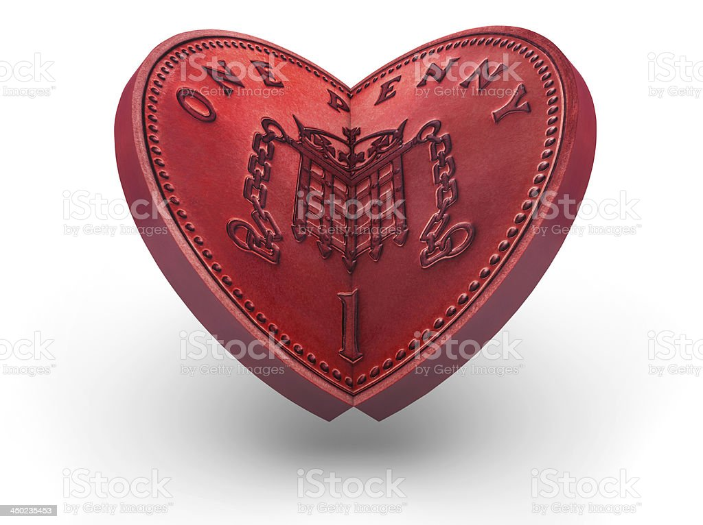 One Pence Coin making a red heart royalty-free stock photo