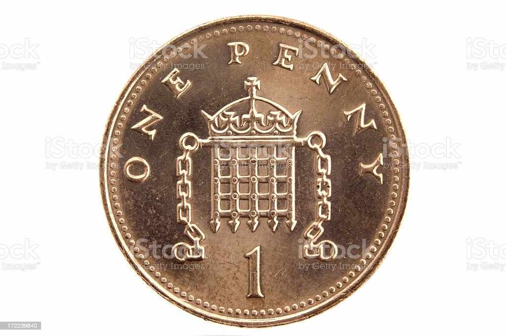 One penny coin (British) stock photo