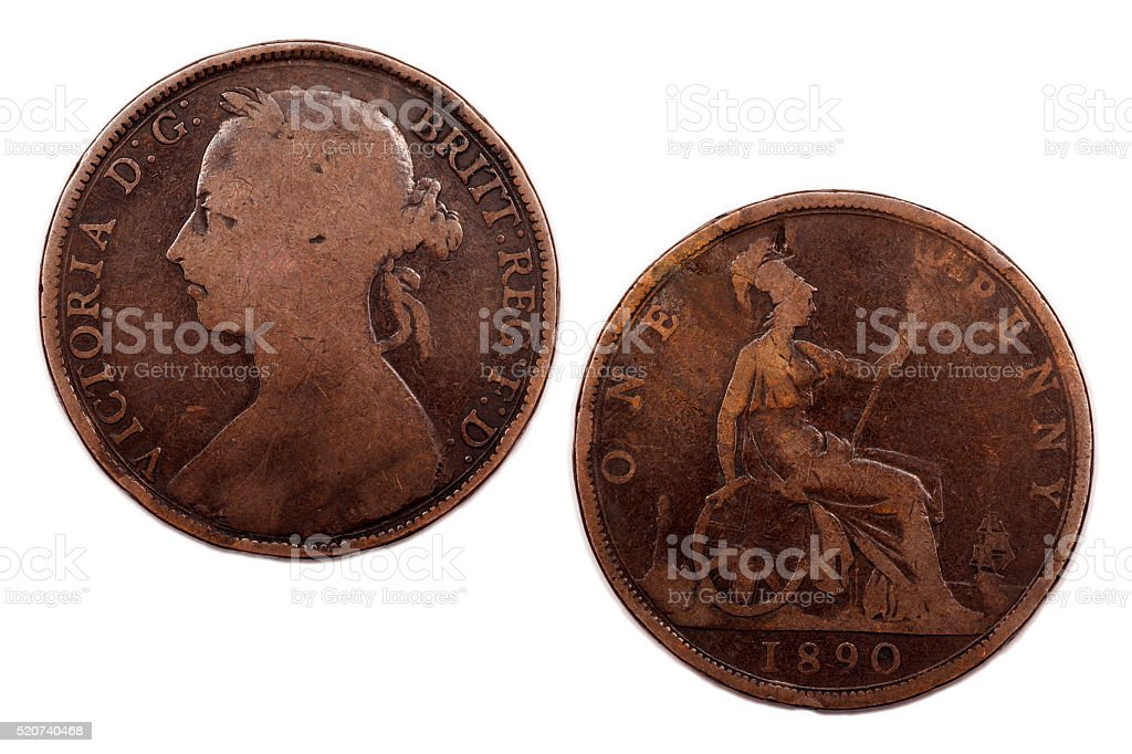 One Penny coin Young head 1890 Victoria stock photo