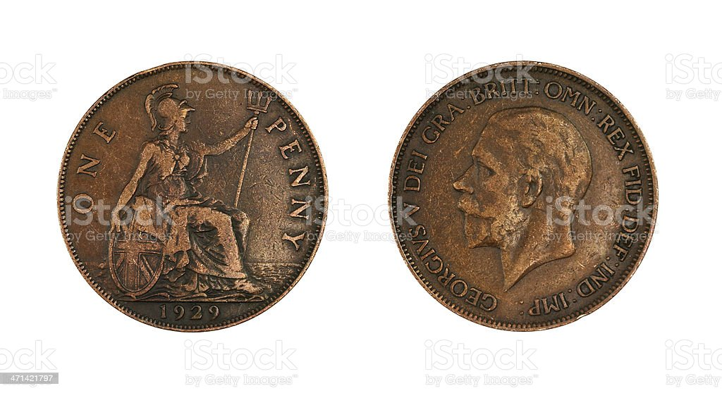 One Penny of 1929 royalty-free stock photo