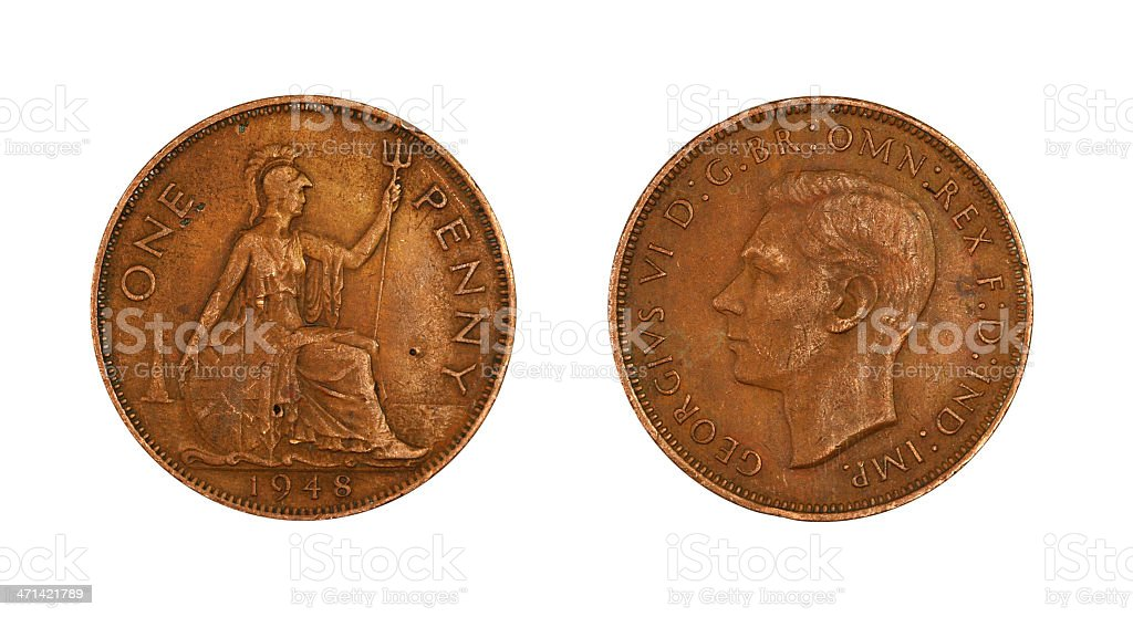 One Penny of 1948 stock photo