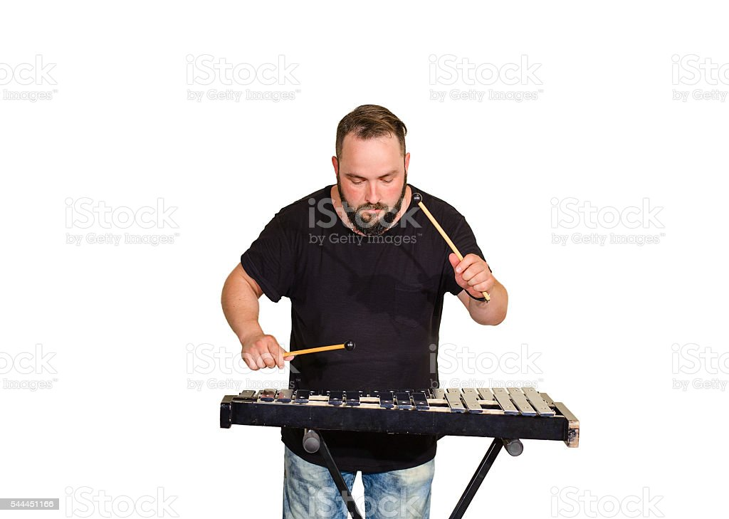 One percussion player stock photo