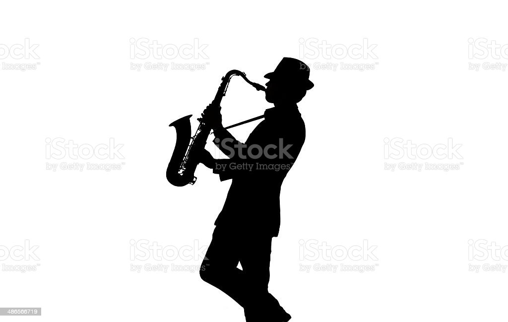 One person playing saxophone stock photo